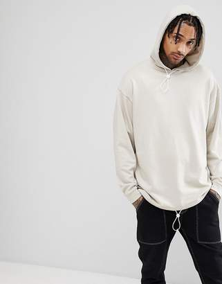 Asos Design DESIGN Oversized Hoodie With Toggle Hem-Beige