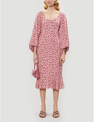 STAUD Lara mushroom-print crepe midi dress