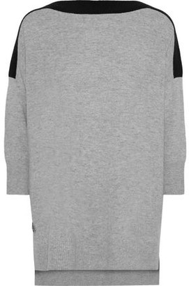 Amanda Wakeley Two-tone Cashmere And Wool-blend Sweater