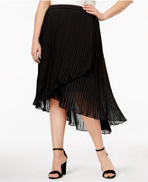 NY Collection Plus Size Asymmetrical Pleated Skirt