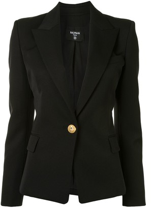 Balmain Fitted Embossed Button Detail Blazer