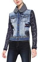 Desigual Women's Chaq_exotic Crochet Jeans Jacket