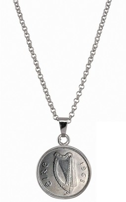 American Coin Treasures Irish Threepence Coin Pendant Necklace