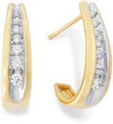 Macy's Channel-Set Diamond J Hoop Earrings in 14k Gold (1/4 ct. t.w.)