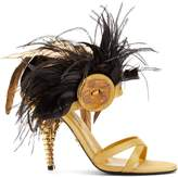 Prada Feather-embellished satin sandals