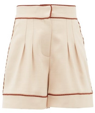 Peter Pilotto Braided-trim Tailored Twill Shorts - Womens - Beige Gold