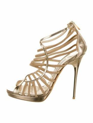 Jimmy Choo Leather Gladiator Sandals Gold