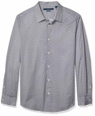 Perry Ellis Men's Scribble Print Stretch Long Sleeve Button-Down Shirt