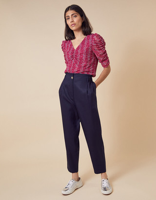Monsoon Fergie Floral Ruched Stretch Mesh Top Pink