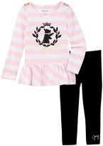 Juicy Couture Scottie Dog Striped Peplum Tunic & Pant Set (Toddler Girls)