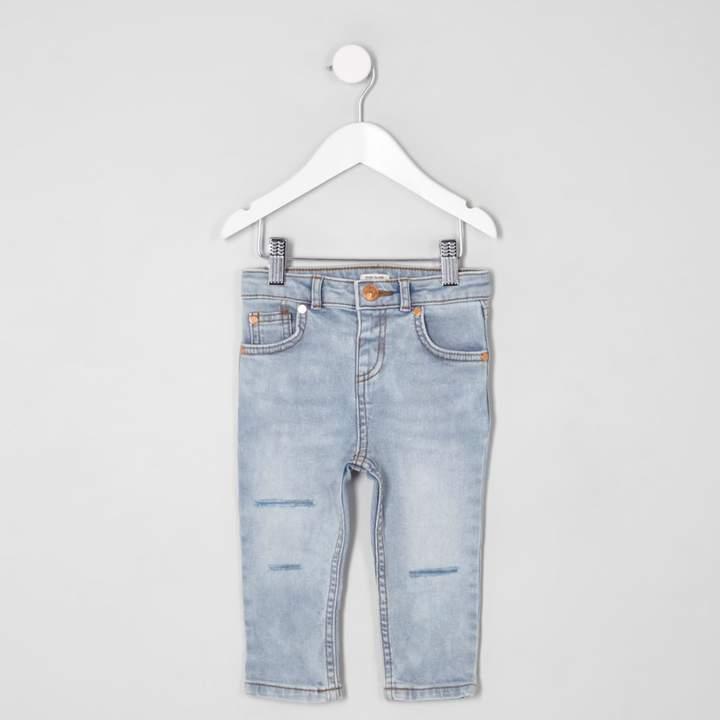 River Island Mini boys light blue Sid ripped skinny jeans
