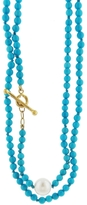 Cathy Waterman Turquoise and Pearl Beaded Necklace