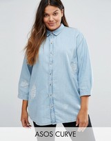Asos Destroyed Denim Shirt With Day Dreamer Embroidery