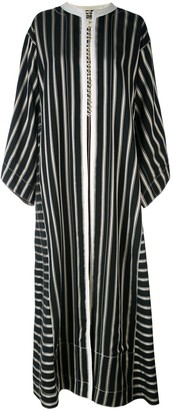 Etro Collarless Long Striped Duster Coat