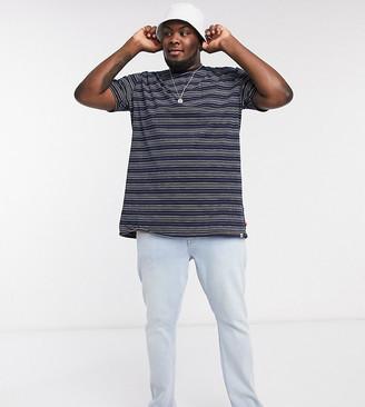 Duke plus printed Stripe T-Shirt With Chest Pocket