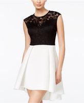 B. Darlin Juniors' Lace Scuba Fit & Flare Dress