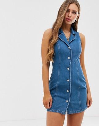 Asos Design DESIGN denim sleeveless fitted mini stretch shirt dress-Blue