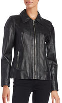 MICHAEL Michael Kors Slim-Fit Seamed Leather Jacket