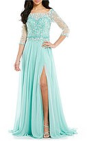 Terani Couture Beaded Tulle Bodice Chiffon Gown