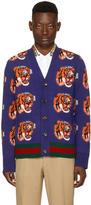 Gucci Navy Jacquard Tiger Cardigan