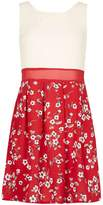 *Tenki Red Floral Two Tone Skater Dress