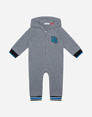 Dolce & Gabbana Hooded Jersey Onesie With Fabulous Print