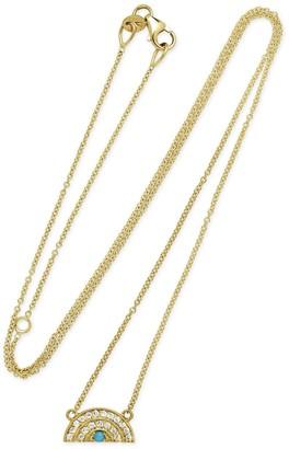 Andrea Fohrman Mini Rainbow Diamond and Turquoise Pendant Yellow Gold Necklace