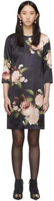 Erdem Black and Pink Silk Satin Emma Dress