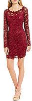 Sequin Hearts Eyelash Trim Sequin Lace Long-Sleeve Sheath Dress
