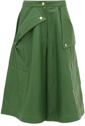 Jacquemus Belize Leather Culottes - Womens - Green
