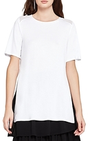 BCBGeneration Sheer-Inset Short-Sleeve Tunic Top