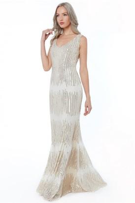 Goddiva Champagne Sleeveless Sequin V Neck Maxi Dress