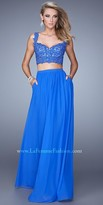La Femme Beaded Lace Jersey Two-Piece Prom Gown