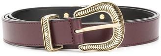 Just Cavalli Feather Embellished Buckle Belt