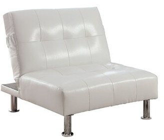 Latitude Run Perz Convertible Chair Fabric: Gray Faux leather