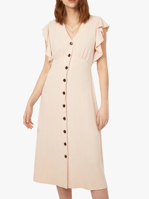Warehouse Flute Sleeve Midi Dress, Stone
