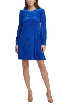 Calvin Klein Burnout Animal-Print Velvet Shift Dress