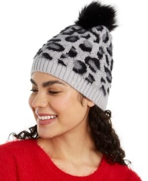 INC International Concepts Inc Fuzzy Animal-Print Beanie with Faux-Fur Pom, Created for Macy's
