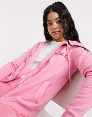 JDY Louise long sleeve zip up hoodie-Pink