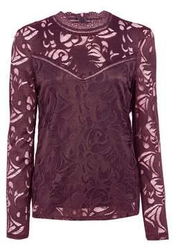 Dorothy Perkins Womens **Vila Wine High Neck Lace Top