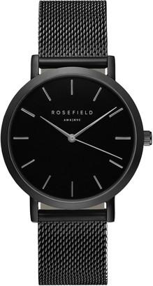 ROSEFIELD Women's The Mercer Mesh Bracelet Strap Watch, Black