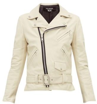 Junya Watanabe Belted Leather Biker Jacket - Womens - Cream
