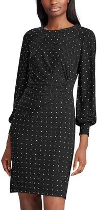 Chaps Petite Dot Draped Sheath Dress