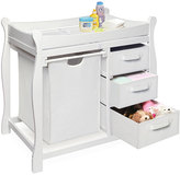 Badger Basket White Changing Table with Hamper and Three Baskets