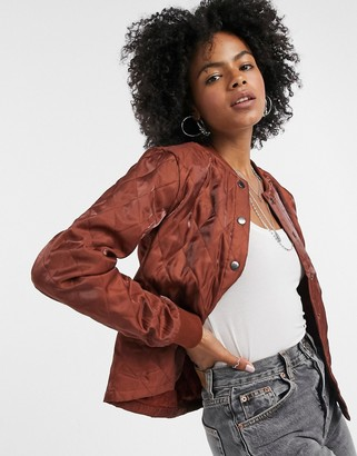 Vila padded bomber jacket in brown