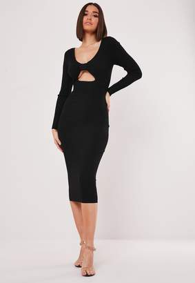 Missguided Black Cut Out Bow Front Knitted Midi Dress