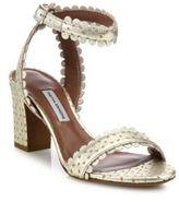 Tabitha Simmons Leticia Scalloped Metallic Split Suede Block-Heel Sandals