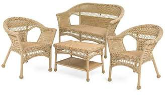 Plow & Hearth Easy Care Wicker Loveseat Chairs & Coffee Table Set