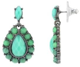 2028 Black-Tone Pear shape Faceted Drop Earrings