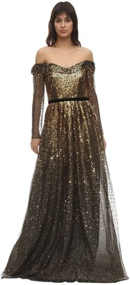 Marchesa Notte Gradient Sequined Gown